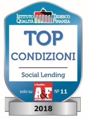riconoscimento Top Social Lending Prestiamoci 2018